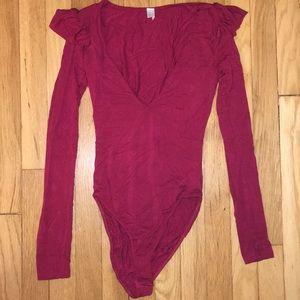 Tops - V Cut Bodysuit (Burgundy) (XS)